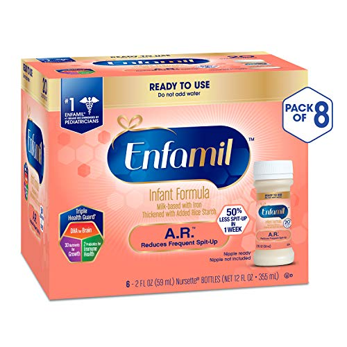 Enfamil A.R. Ready to Feed Spit Up Baby Formula Milk, 2 fluid ounce Nursette (48 count) - Omega 3 DHA, Probiotics, Immune & Brain Support (Best Formula Milk For Reflux Babies)