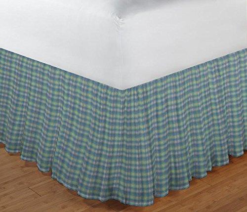(Patch Magic Blue Aqua and Pink Plaid Fabric Dust Ruffle, Twin)