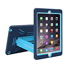TKOOFN Heavy Duty Silicon Defender Multilayer Protective Shell Military Shockproof Bumper Case Cover with Built in Stand for Apple iPad 2 / iPad 3 (The New iPad) / iPad 4 (iPad with Retina Display) + Screen Protector + Stylus + Cleaning Cloth, Blue/Sapphire - PT7702