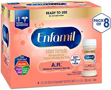 Enfamil A.R. Ready to Feed Spit Up Baby Formula Milk, 2 fluid ounce Nursette (48 count) - Omega 3 DHA, Probiotics, Immune & Brain Support