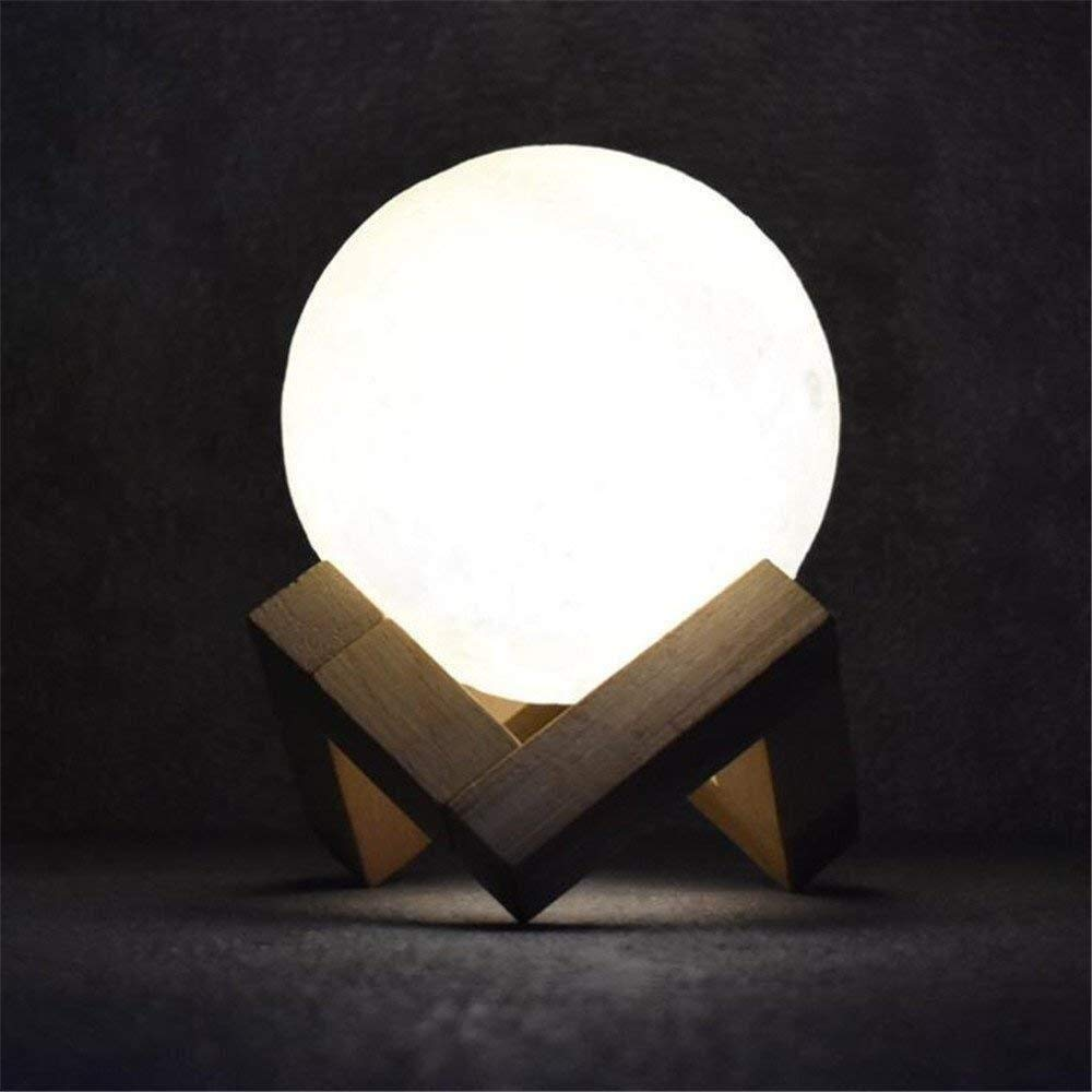 USB Rechargeable LED Light Table Lamp Night Light Creative 3D Printing Moon Moon Light Novelty LED Table Lamp Bedroom Bookcase Home Deora Gifts for Children Study Lamp Desk Lamps by LCLZ