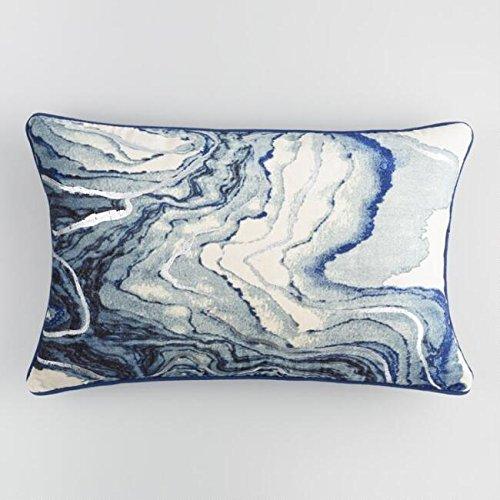MattsGlobal Bohemian Blue Marble Velvet 100% Cotton Fabric Lumbar Pillow