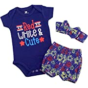 Unique Baby Girls Red, White & Cute 1st 4th of July Layette Set (9 Months)