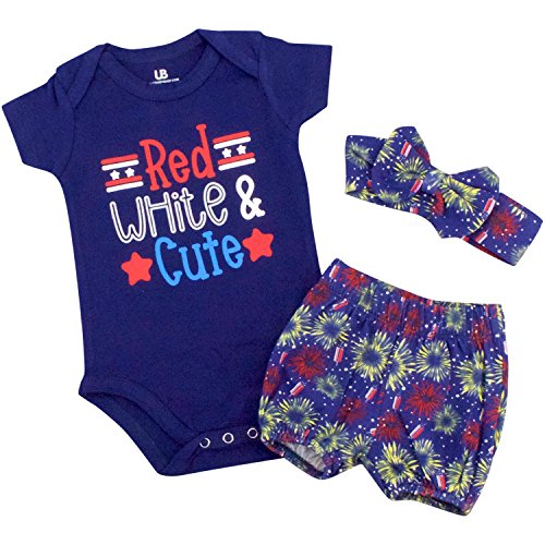 Layette Apparel (Unique Baby Girls Red, White & Cute 1st 4th of July Layette Set (12 Months))