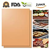 Copper Grill Mat, Seinami, Set of 2 - Non-stick BBQ Grill & Baking Mats,Reusable and Easy to Clean - Teflon Fiber Grill Roast Sheets for Gas, Charcoal, Electric Grill - 15.75 x 13 inches