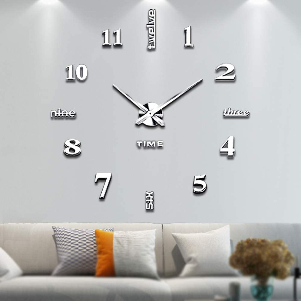 Vangold Large DIY Wall Clock, 2-Year Warranty Modern 3D Wall Clock with Mirror Numbers Stickers for Home Office Decorations Gift