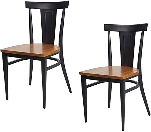 Dporticus Dining Chairs W/Wood Seat and Metal Legs Kitchen Side Chairs Residential or Commercial Use