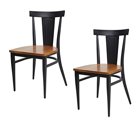 Dporticus Dining Chairs W Wood Seat And Metal Legs Kitchen Side Chairs Residential Or Commercial Use Set Of 2 Black