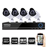Outdoor Indoor Surveillance Home Video Security Camera System with Night Vison Weatherproof IR CUT, Motion Alert, Smartphone, PC Easy Remote Access (1080p camera, 8CH 1080P DVR 4CH 1080P Cameras)
