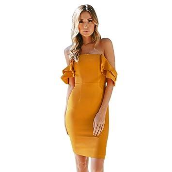 Wawer Vestido de Verano para Mujer, Hombro Otoño Corto Mini Bodycon Vestido de Noche Casual