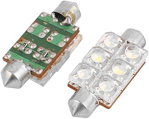 eDealMax 2pcs 41mm 6 Bombillas LED Blanco Adorno de la bóveda del coche luz de la lámpara de lectura