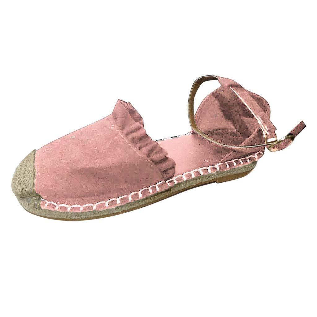 Sandals for Women THENLIAN Retro Flat Casual Shoes Straw Linen Buckle Ruffle Pumps Women's Shoes(40, Pink)