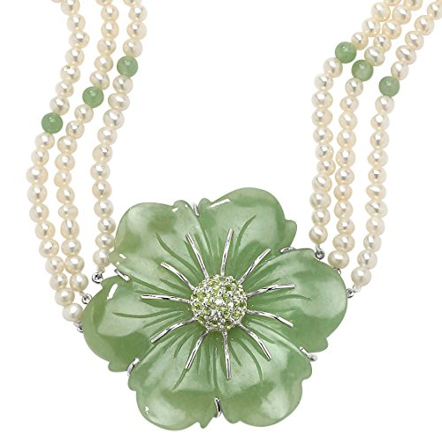 Genuine Green Jade and Cultured Freshwater Pearl .925 Sterling Silver Necklace in 16