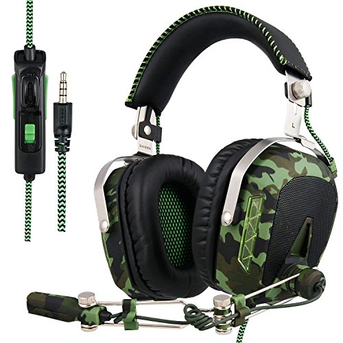 SADES SA926T Stereo Gaming Headset for PS4 New Xbox One, Bass Over-Ear Headphones with Microphone and In-line Volume Control for Laptop, PC, Mac, iPad, Computer, Smart phones(Camouflage) (Xbox Camo 360 Headset)