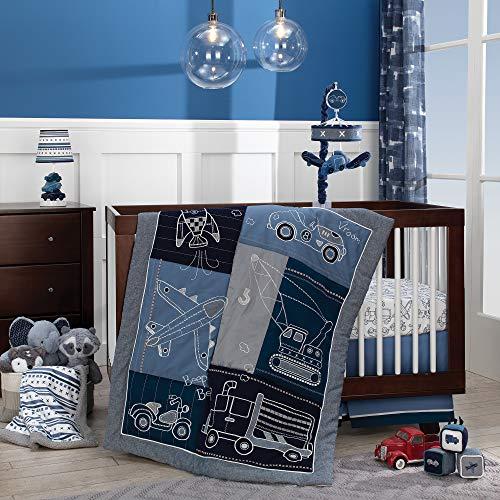 Lambs & Ivy Metropolis 4-Piece Crib Bedding Set - Blue, Gray, White (Crib Bedding Set Blue)
