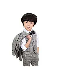 3 Pcs Children's Boy Wedding Formal Dress T-Shirt+Pant Suit Size for 3-8 Yrs