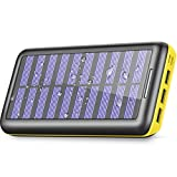 Solar Charger 24000mAh Portable Power Bank, ALLSOLAR External Battery Pack with 2 Input and 3 Output USB, iSmart 2.0 Tech Fast Charging for iPhone,iPad & Samsung Galaxy & More-Black