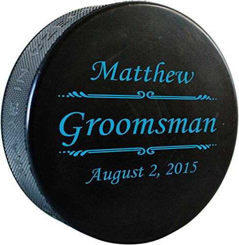 Any Text, Personalized Hockey Puck with Custom Color Printing - Regulation Pucks, Groomsmen Gifts, Will You Be My Groomsman? - HC02.HKY001