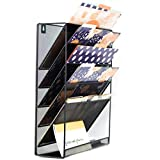 Premium Wall Hanging File Organizer - Wall Mounted Mesh Metal File Holder with 5 compartments saves space and keeps your desk always clear