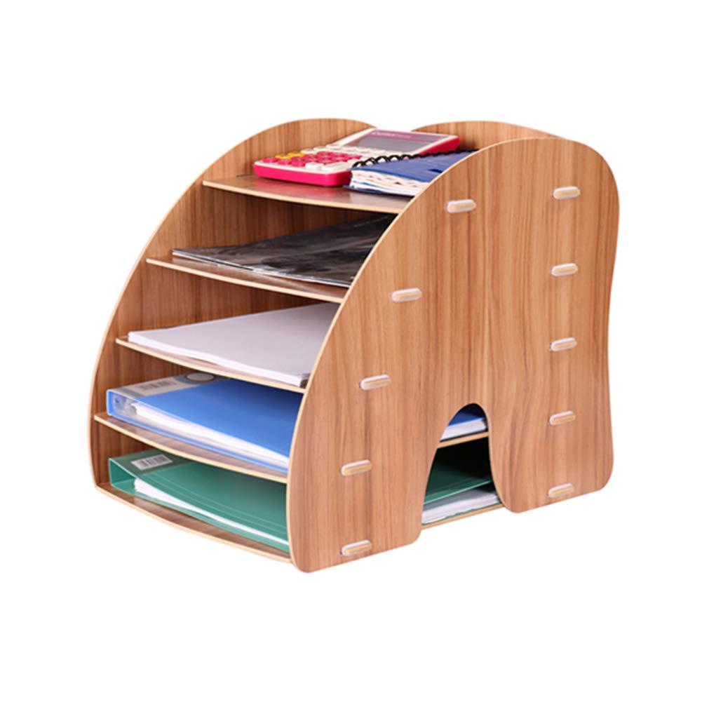 HYwot File Sorter Desk Document Organiser, Desktop Paper Folder Stationary Office Supplies Storage Shelves,Brown