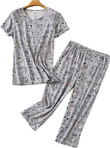 Women's Cotton Pajama Set Capri Pants with Short Tops Sleepwear 2 Piece Knit Nightgown Lucky008-Gray - Top Knit Cat