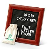 Premium Felt Letter Board Bundle by FeltGOOD: 10'' x 10'' Red Cherry Wood Frame and Ultra Rich Felt Backing Message Board - 510 Changeable Letters, with Storing Bag, Scissors, Kickstand, Gift Box