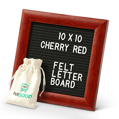Premium Felt Letter Board Bundle by FeltGOOD: 10'' x 10'' Red Cherry Wood Frame and Ultra Rich Felt Backing Message Board - 510 Changeable Letters, with Storing Bag, Scissors, Kickstand, Gift Box by FeltGOOD
