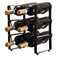 GONGSHI 3 Tier Stackable Wine Rack, Countertop Cabinet Wine Holder Storage Stand - Hold 6 Bottles, Metal