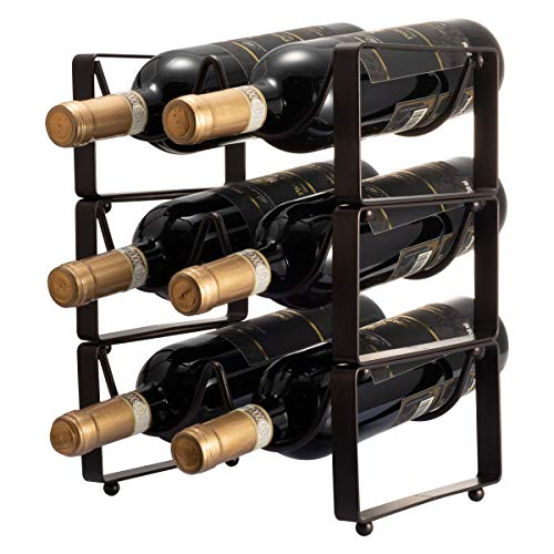 GONGSHI 3 Tier Stackable Wine Rack, Countertop Cabinet Wine Holder Storage Stand - Hold 6 Bottles, Metal (12 Bottle Wine Rack Black)