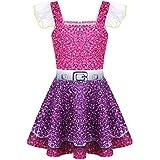 inlzdz Girl Kids Digital Printed Dress Halloween Cosplay LOL Costume Ballerina Tutu Doll Surprised Skirts Rose Red&Purple 5-6