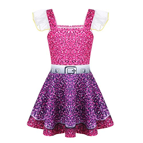 Agoky Kids Girls Sparkling LOL Doll Surprised Dress Halloween Costumes Cosplay Fancy Dress Up Clothes Rose Red&Purple 3-4