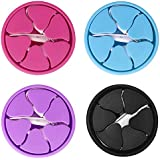 Tangle-Free Earbuds Holder Storage Case Portable Silicone Headphone Earphone Cable Compact Storage Cord Wrap Winder Headphones Keeper System Organizer (Red Blue Black Purple)