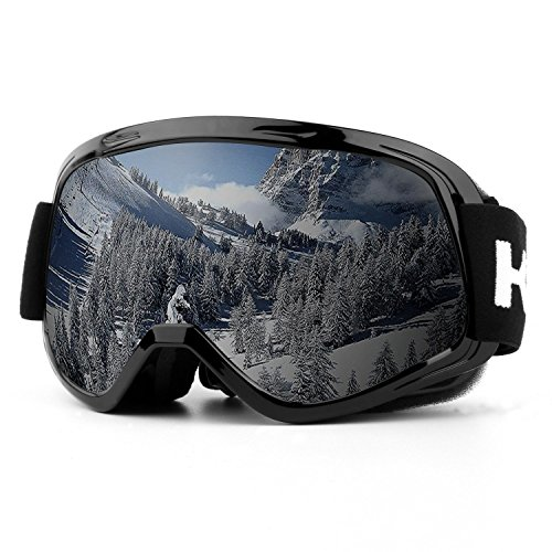 (Ski Goggles, UV Protection Anti-Fog Detachable Lens Snowboard Goggles with Wide Angle for 6-18 Year Old Children (Black-VLT 12.12%) (Kids-Black))