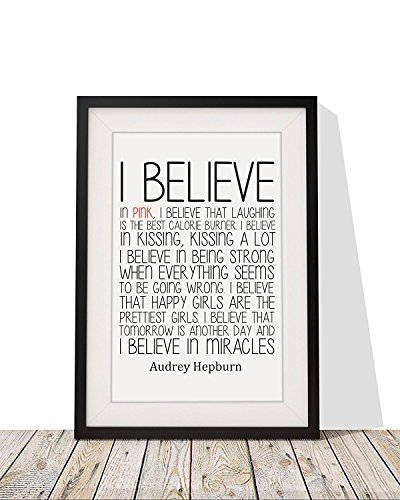 Believe Framed Print - Four Leaf Clover Gift Shop Inspirational Audrey Hepburn Quote - 'I Believe in Pink' - Framed Print with Mount - 12 x 10 Inch.
