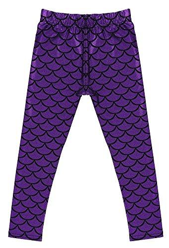 Kids Girls Night Club Full Length Mermaid Fish Scale Print Leggings Purple S