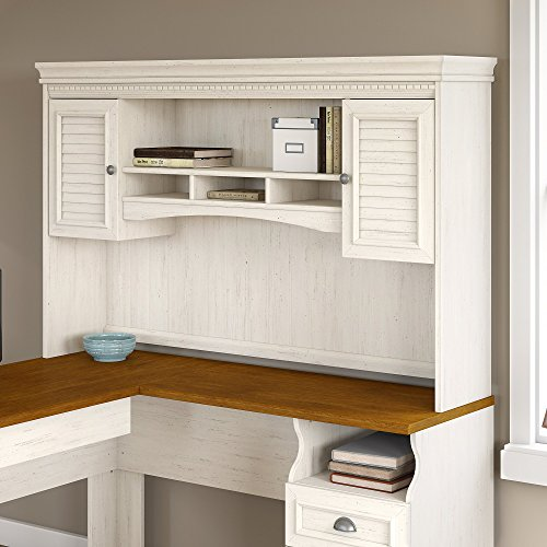 Fairview Hutch for L Shaped Desk in Antique White by Bush Furniture