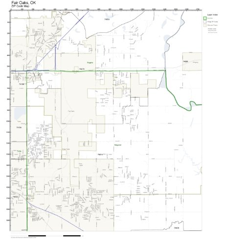 ZIP Code Wall Map of Fair Oaks, OK ZIP Code Map - Fair Map Oak
