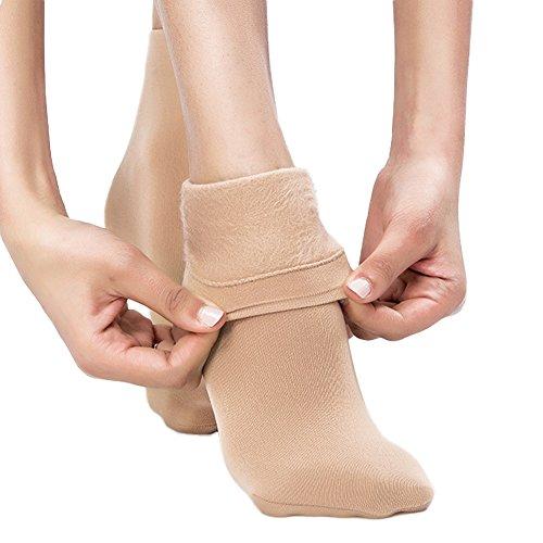Blostirno Women's Winter Warm Socks Thick Fleece Lined Trouser Socks Pack of 2 (Camel Tan Pack of 2) (Microfiber Opaque Trouser Sock)