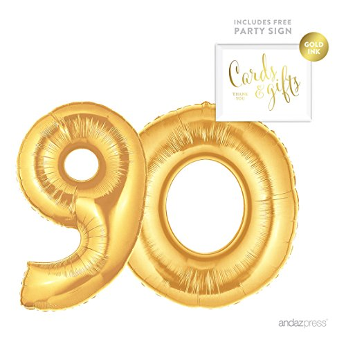 Andaz Press Giant Gold Helium Foil Balloon Party Kit with Sign, Jumbo 40-inch, Number 90, Metallic Gold Shiny Mylar, 1-Pack, Includes Free Party Sign!, 90th Birthday Party Decor Decorations