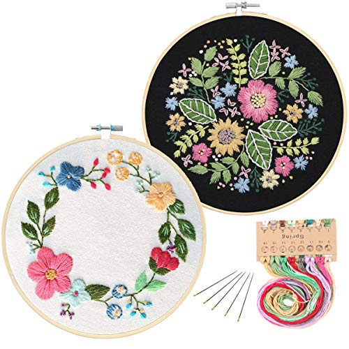 2 Pack Embroidery Starter Kit with Pattern, Kissbuty Full Range of Stamped Embroidery Kit Including Embroidery Cloth with Flower Pattern, Bamboo Embroidery Hoop, Color Threads Tools Kit (Floral Hoop)