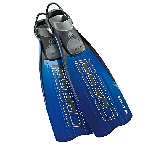Cressi ARA Performance Blade Fins with EBS Bungee String Straps, Blue - (Performance Fin)
