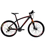 BEIOU Carbon Fiber Mountain Bike Hardtail MTB 10.65 kg Shimano M610 DEORE 30 Speed Ultralight Frame RT 26 Professional Internal Cable Routing Toray T800 Carbon Hubs Matte CB024B (Red, 21-Inch)