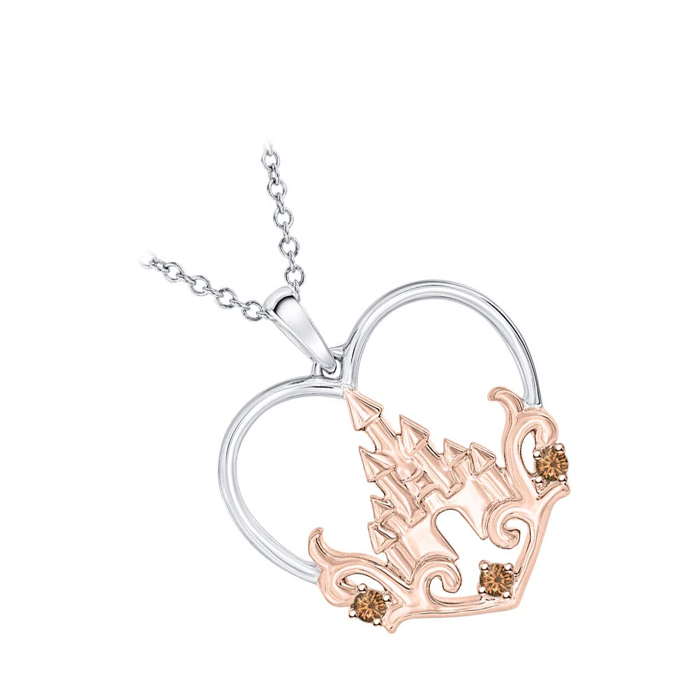RUDRAFASHION Princess Castle Gemstone Heart Pendant Necklace 14K White /& Rose Gold Over 925 Sterling Silver for Girls