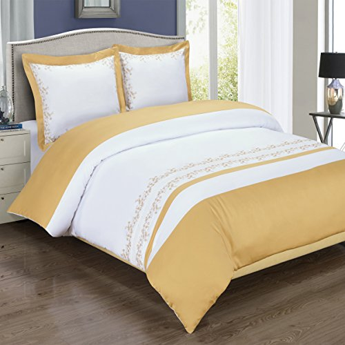 8pcs Queen size Bed in a bag Embroidered Amalia Gold & White duvet set Including Cotton 3pcs Duvet cover set+ 4pcs Queen sheet set+ 1pc Full/Queen Down Alternative (8pcs Queen Bedding)