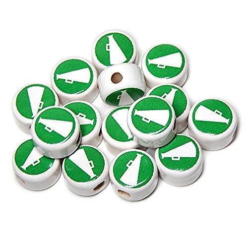 CHEERLEADER PEP SQUAD CERAMIC DISC BEADS MEGAPHONE white/green 14mm