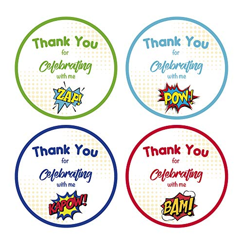 Super Hero Phrases-2-inch Thank you Stickers for Super Hero Parties, Baby Showers, Invitation Seal and Favor Stickers for Gift Bags 60 Pack of 4 different Images Made in the USA ()