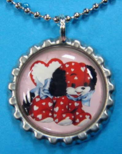 (1 Valentines Day Silver Bottle Cap Pendant Necklace #13)