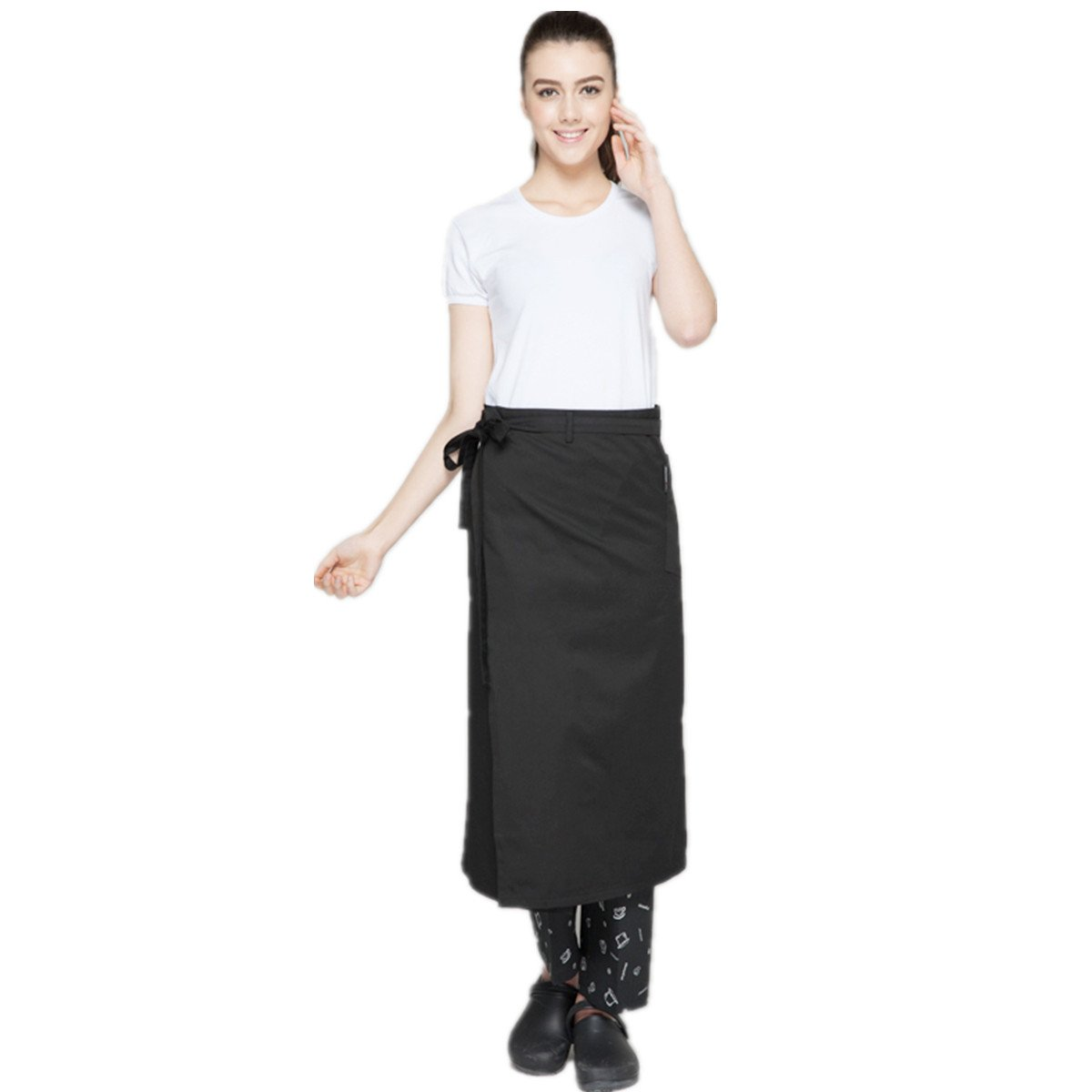 XINFU Chef Cooking Apron Hotel Waiter Apron Home Furnishing Short Kitchen Restaurant Work Black Apron