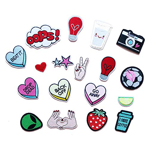MUNAN 17pcs Random Assorted Styles Embroidered Patch Sew On/Iron On Patch Applique Clothes Dress Plant Hat Jeans Sewing Flowers Applique DIY Accessory]()