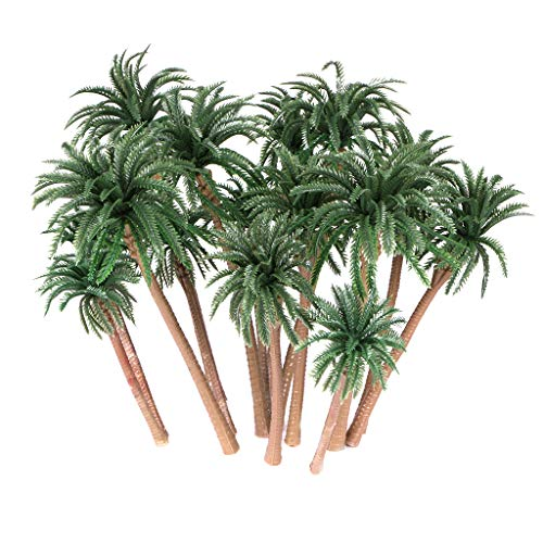 Ymeibe 15Pcs Coconut Palm Model Trees Diorama Layout Architecture Trees Scenery Miniature Landscape Cake Toppers Decoration 3.9-6.3 inch -